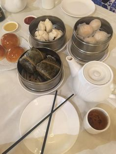 Delicious Dim Sum (Baked & Steamed BBQ Pork Buns, Har Gow, Chrysanthemum Tea, Sticky Rice) at Spring Bamboo Seafood, Arcadia CA
