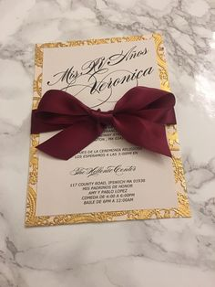 Sweet 16 invitation card printed on double layer blush cardstock + gold lasercut and finished with a beautiful burgundy silk ribbon Sweet 16 Themes, Sweet 16 Decorations, Quince Decorations, Quinceanera Decorations, Gold Decorations, Candy Centerpieces, Birthday Decorations, Wedding Centerpieces, Sweet 15 Invitations
