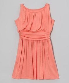 Love this Coral Ruched Knit Dress - Girls by Blush on #zulily! #zulilyfinds