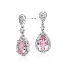 ac40dd322477 Morganite and Diamond Halo Drop Earrings in 18k White Gold (3.30 ct. tw.  center). JoyasJoyas De DiamantesAjuste ...