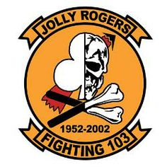 Fighting 103 Sluggers / Jolly Rogers 50 Year Anniversary The Fighting One-Zero-Three F-14 Tomcat, Military Insignia, Us Marine Corps, Car Bumper Stickers, Military Photos, Jolly Roger, Weapons, Ships, War
