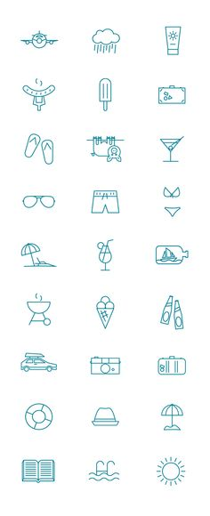 Summer pictogram on Behance // i love these so much!!!! I can draw all these things in a simple way!!!! Great
