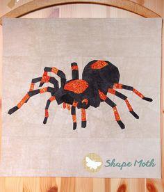 Tarantula paper piecing pattern by Joanna at Shape Moth