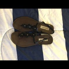 Steve Madden floral sandals Black Steve Madden sandals lightly worn Steve Madden Shoes Sandals