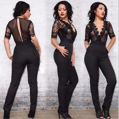 Sexy Fashion Lace Jumpsuit Women Clothes 2016 New Short Sleeve Slim Women Boysuits Hollow Out Lace Black Jump Suit