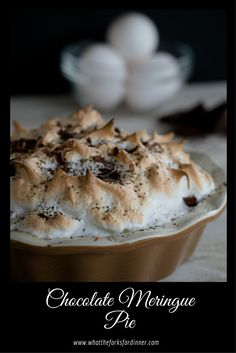 Chocolate Meringue Pie - Rich chocolaty filling, in a perfectly crisp crust, topped with golden brown meringue. A luscious dessert for any occasion!