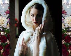 Princess Bridal Cape 96 inch Ivory / Ivory Satin di capeandcrown13