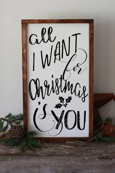All I want for Christmas is you sign holiday decorations #modernfarmhouse #christmasdecor #wall art