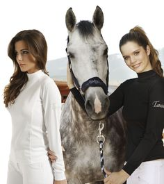 Long sleeved top with folded high neck. Anti-bacterial, techno-stretch fabric, UV protection and sweat absorbing properties, embellished with Tattini embroidery #style #fashion #equestrian #horse #riding #helmet #breeches #show #jumping #diva