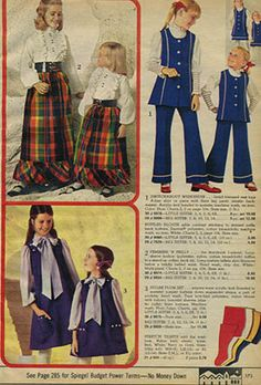 My sister and I wore matching outfits. Always thought my mom sewed them. Now I wonder if she purchased them! Vintage Kids Clothes, Vintage Outfits, Vintage Fashion, Matching Outfits, Outfits For Teens, Kids Fashion, Fashion Outfits, Fashion Trends, Seventies Fashion