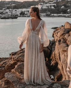 18 Absolutely Gorgeous Destination Wedding Dresses ❤ destination-wedding-dresses-a-line-sexy-deep-v-neckline-with-long-sleeves-tali__photography #weddingforward #wedding #bride #weddingoutfit #bridaloutfit #weddinggown