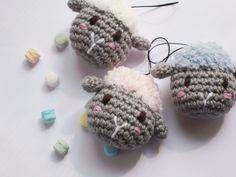 Amigurumi keychain in the shape of sheep crochet ewe by BissCotton
