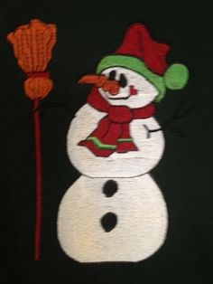 Snowman Sweatshirt Christmas Embroidery Design Size XL Dark Green Clearance Sale #Hanes #Sweatshirt