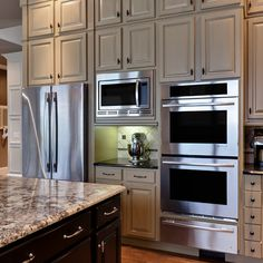 Double Ovens Refrigerator Wall Design Ideas, Pictures, Remodel, and Decor - page 2