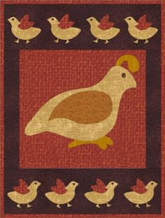 Wool or cotton wall hanging. Quail Run Quilt Pattern PCG-3002 by Prairie Cottage Corner - Kathie Donahue & Erin MacGregor.  Check out our wall hanging patterns. https://www.pinterest.com/quiltwomancom/quilted-wall-hangings/  Subscribe to our mailing list for updates on new patterns and sales! https://visitor.constantcontact.com/manage/optin?v=001nInsvTYVCuDEFMt6NnF5AZm5OdNtzij2ua4k-qgFIzX6B22GyGeBWSrTG2Of_W0RDlB-QaVpNqTrhbz9y39jbLrD2dlEPkoHf_P3E6E5nBNVQNAEUs-xVA%3D%3D