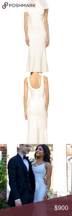 HERVE LEGER PROM DRESS!!! Beautiful, simple, classic white gown for sale. Herve Leger Dresses Prom