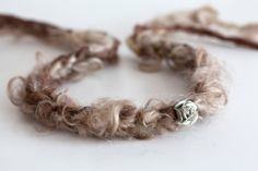 Newborn tieback headband with flower - tan, brown - Spring Collection. $20.00, via Etsy.