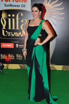 Isha Talwar Plain Green and Black Double Shaded Saree at IIFA Utsavam 2016