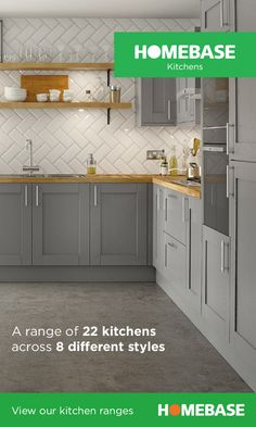 Homebase kitchens have 22 kitchen ranges across 8 different styles. You're sure to find a style that suits. Homebase kitchens have 22 kitchen ranges across 8 different styles. You're sure to find a style that suits. Grey Shaker Kitchen, Shaker Style Kitchens, Grey Kitchens, Home Kitchens, Grey Kitchen Furniture, Modern Kitchen Cabinets, Kitchen Ranges, Grey Kitchen Designs, Open Plan Kitchen Living Room