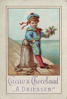 CHROMO CACAO DRIESSEN  - BOY IN SAILOR SUIT WITH A BUNCH OF FLOWERS | par patrick.marks