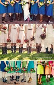 Country Themed Wedding Bridesmaid Dresses in Custom Styles. I love the idea of cowboy boots! Bridesmaids In Boots, Country Bridesmaid Dresses, Wedding Bridesmaids, Wedding Dresses, Wedding Attire, Bridesmaid Ideas, Casual Wedding, Dream Wedding, Wedding Day