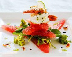 food & drink - food - appetizers - seafood - shrimp - translucent watermelon & shrimp