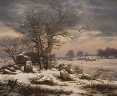 Winter Landscape near Vordingborg: 1829 by Johan Christian (J.C.C.) Dahl (Statens Museum for Kunst - Copenhagen) - Romanticism