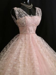 Vintage 1950's 50s Bombshell Baby PINK Lace Tulle Circle Skirt PROM Party Wedding Dress GownDescription An enchanting original 1950's party dress in a confection of baby pink tulle and lace. The