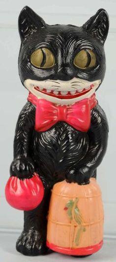 Celluloid Halloween Black Cat Holding Parrot Cage - Paper Japan label.