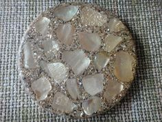 Vintage abalone and sand trivet 7 and a half inches by maw0707, $10.00