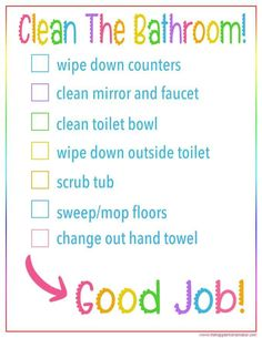 Kid's Bathroom Cleaning Checklist Printable Help kids know exactly what's required when cleaning the bathrooms with this printable, colorful Kids Bathroom Cleaning Checklist. Bathroom Cleaning Checklist, House Cleaning Tips, Diy Cleaning Products, Cleaning Hacks, Deep Cleaning, Bedroom Cleaning, Kitchen Cleaning, Clean Kitchen Checklist, How To Clean Kitchen