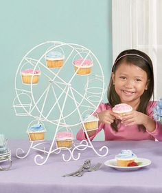 FERRIS WHEEL - Novelty Cupcake Stand Birthday Party Girls White Metal Fancy Cool