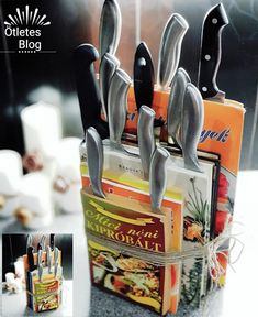 Ötletes Blog: Szakácskönyvekből egyedi késtartó Knife Block, Blog, Decor, Decoration, Decorating, Blogging, Dekorasyon, Dekoration, Home Accents