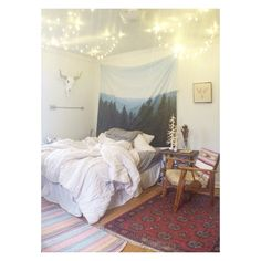 Add lights for a boho bedroom feel, lights, bedroom lighting, Bedroom Lighting, Boho Decor, Tapestry, Lights, Studio, Furniture, Home, Design, Hanging Tapestry