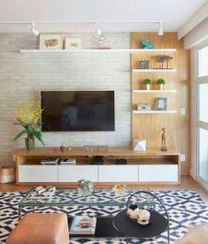 Cozy Living Rooms, New Living Room, Living Room Decor, Small Living, Tv Unit Decor, Tv Wall Decor, Wall Tv, Wall Decorations, Tv Wand Design