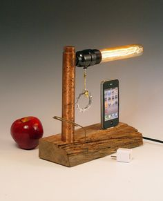 iPhone iPod dock AND table lamp iPhone 3 4 5 by hairqueen48, $105.00