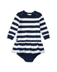 Ralph Lauren Childrenswear Infant Girls' French Terry Striped Dress & Bloomer Set - Sizes 3-24 Months