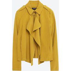 Zara Flowing Lapels Blazer ($50) ❤ liked on Polyvore featuring outerwear, jackets, blazers, blazer, pistachio, brown blazer, lapel blazer, zara jacket, lapel jacket and blazer jacket