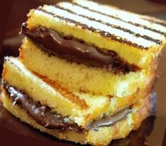 Pound Cake with Nutella spread grilled on panini grill Dessert Paninis