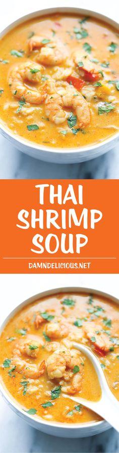 Easy Thai Shrimp Soup - Damn Delicious Low Carb Soup Recipes, Best Soup Recipes, Seafood Recipes, Cooking Recipes, Detox Recipes, Thai Shrimp Soup, Thai Soup, Soup Appetizers, Asian Soup