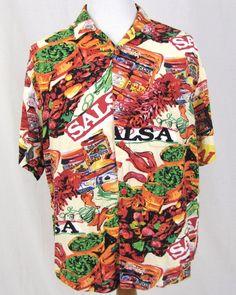 Jams World Hawaiian Shirt Large Food Art Salsa Diablo Chili Pepper Fiesta Arriba #JamsWorld #Hawaiian