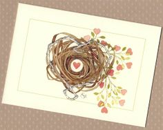 heart nest Valentine love note card set blank by atticEditions, $8.50