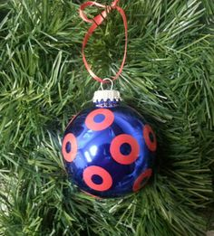 Phish inspired Christmas Ornament Fishman donuts Blue glass bulb Grateful Dead