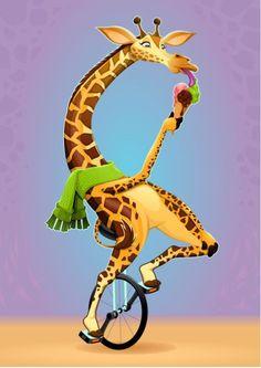 Funny giraffe on an unicycle Rug by danilosanino Kids Room Wall Art, Wall Art Decor, Wall Art Prints, Canvas Prints, Funny Giraffe, Giraffe Art, Unicycle, Art For Kids, Art Projects