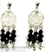 Jet round chandeliers - Swarovski crystal & sterling silver earrings