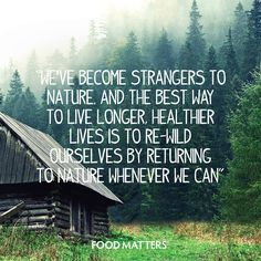 """We've become strangers to nature. And the best way to live longer, healthier lives is to re-wild ourselves by returning to nature whenever we can."""" -Daniel Vitalis from Hungry For Change"""