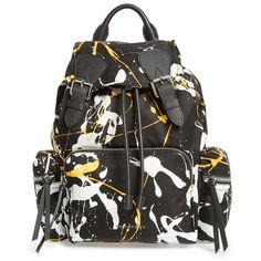 Women's Burberry Medium Rucksack Splash Print Nylon Backpack (£1,060) ❤ liked on Polyvore featuring bags, backpacks, black, logo backpack, burberry bags, quilted backpack, zip bag and strap backpack