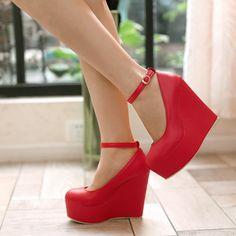 Cunhas plataforma de salto alto sapatos de noiva vermelho sapatos em Bombas das mulheres de Sapatos no AliExpress.com | Alibaba Group