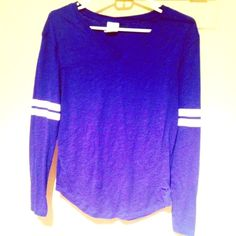 VS PINK blue top Long-sleeve vneck blue top in perfect condition PINK Victoria's Secret Tops Tees - Long Sleeve
