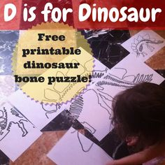 D is for dinosaur free printable oversize puzzle featuring Stegosaurus bones.
